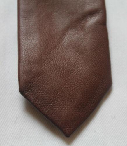 Hochwertige Nappa Echtleder Herren Krawatte Tie Mokka Braun limitiert NEU