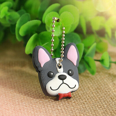 Lovely 1Pc Silicone Key Ring Cap Head Cover Keychain Case Shell Animals Shape