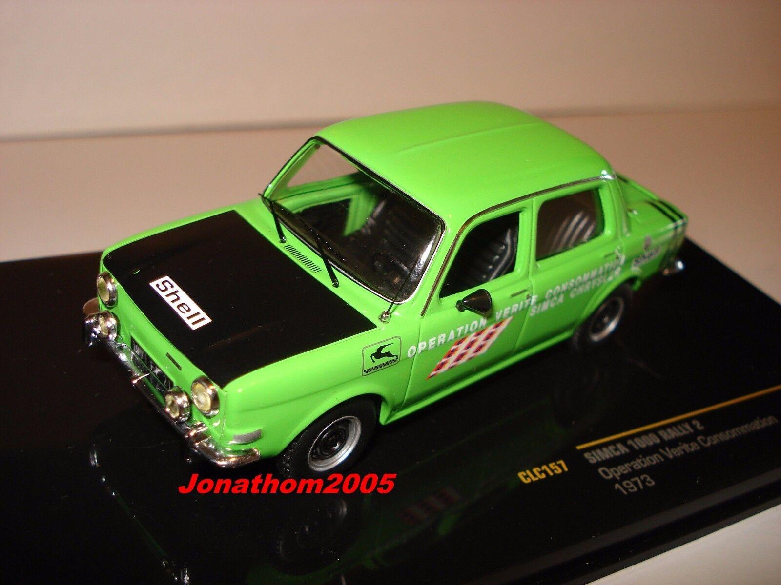 Ixo CLC157 Simca 1000 Rally 2 Operation Wahrheit Verbrauch grün 1973 au 1 43°    Modisch