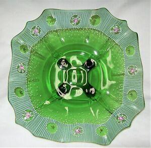 Vintage-Cambridge-Emerald-Green-Ruffled-4-Toed-3400-Bowl-Hand-Painted-OOAK