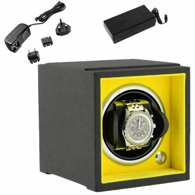 Watch Winder Larger Wrist Sizes Black Soft Touch with Yellow by Aevitas
