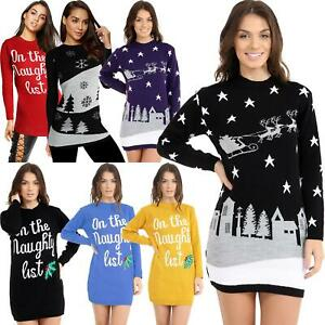 New-Ladies-Womens-Christmas-Xmas-Sweater-Naughty-List-Tunic-Novelty-Jumper-Dress