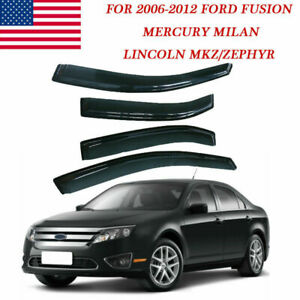 Visors Wind Deflector 4pcs Out-Channel Rain Guard For 13-16 Lincoln MKS