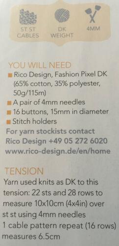 KNITTING PATTERN Ladies Tasseled Crop Top Bodice Cross Over Back Rico DK