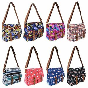 Ladies-Girls-Canvas-Shoulder-Satchel-School-Cross-Body-Messenger-Handbag-Bag