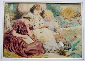 GENRE-THREE-CHILDREN-DRAWING-BENEATH-A-TREE-AFTER-BIRKET-FOSTER-W-COL-C1908