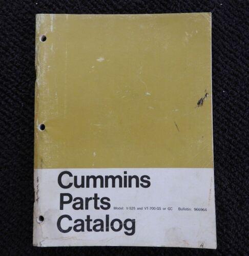 1965 CUMMINS V-525 VT-700 GS GC DIESEL ENGINE PARTS MANUAL CATALOG VERY GOOD