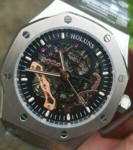 Orologio da uomo Royal Scheletro OMAGGIO didun FACTORY Parnis AUTOMATICO ROVERE IN ACCIAIO UK