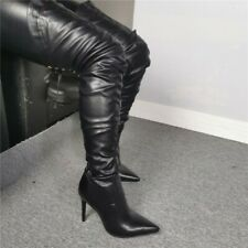 Pleaser Delight-5000 Thigh High Over The Knee Crotch Chap Black Boots Platform
