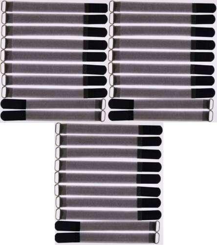 30 x kabelklettband FK 20 cm x 20 mm Noir Velcro Velcro Serre-câbles Bande œillet