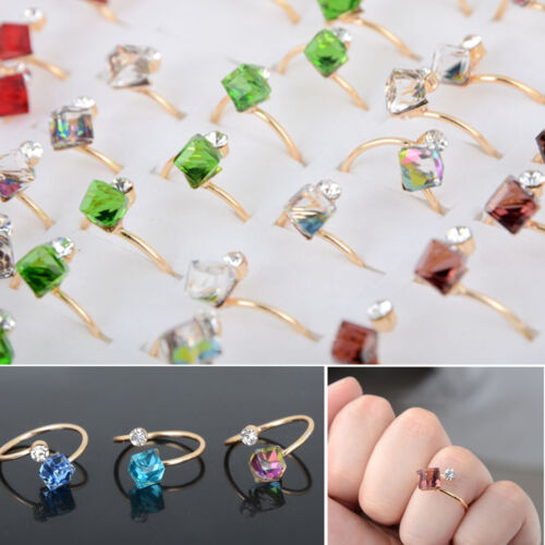Wholesale Mixed Lots Jewelry 20pcs Square Crystal Gold Plated Adjustable Rings