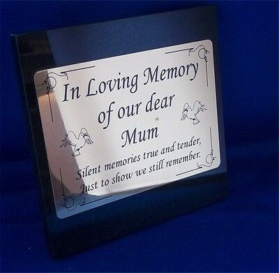 Personalised Flat Black Granite Memorial Grave Plaque Stone Any Wording