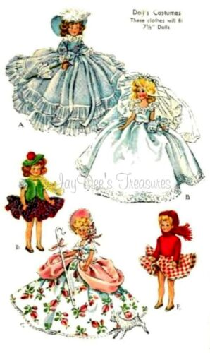 1653 Vintage Doll Clothes Pattern 7-1//2  inch Dolls