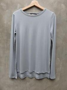2097d6fdd176 New Theory Ailer Light Gray Long Sleeve Draped Hi-Lo Tee T-shirt Top ...