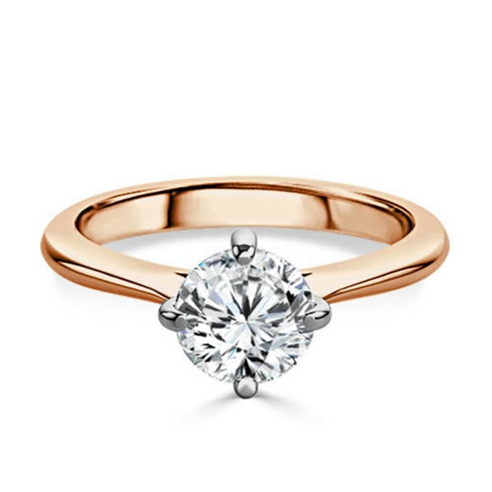0.40Ct pink gold Real Diamond Engagement Ring Certified 14K Round Cut