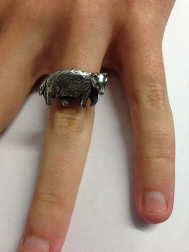 Badger R158 English Pewter Ring Adjustable Handmade in Sheffield