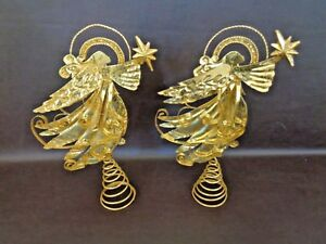 Pair-of-Vintage-Gold-Colored-Tin-Christmas-Angel-Decorations-Cat-3C017