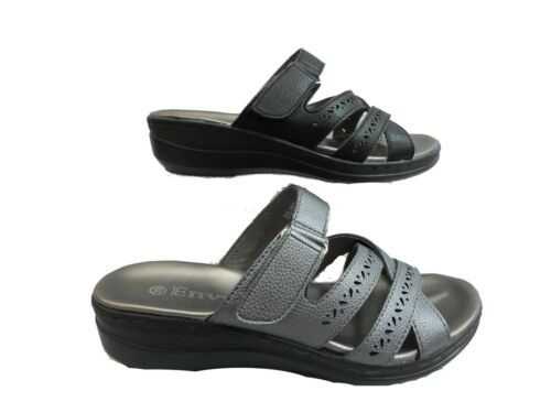 LADIES SUMMER COMFORT OPEN STRAPPY WEDGE MULES SANDALS,BLACK PEWTER 3-8 D5407