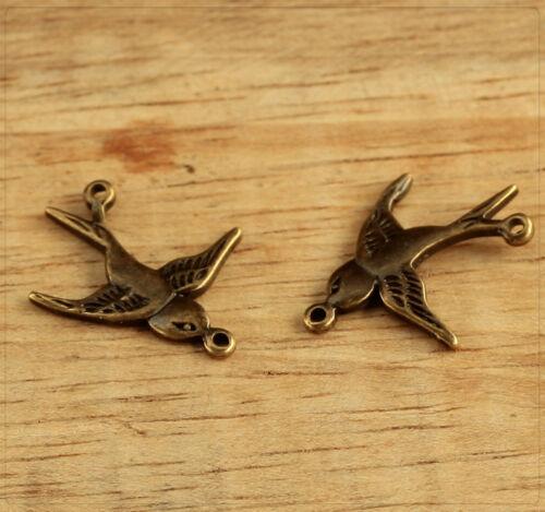 2x remolque de metal conector joyas DIY bricolaje Schwalbe pájaro bronce 17x20mm