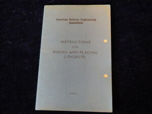 Vtg 1950 American Railway Association Mixing & Placing Cement Instructions R26