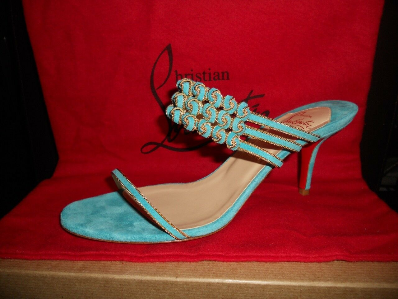 Christian Louboutin KEFFINANA Suede Chain Slides Slides Slides Sandals shoes Turquoise  1,198 b43d4a