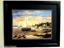 SAILBOAT PICTURE PIROGUE BEACH SEAGULLS SEASCAPE MATTED FRAMED  16X20