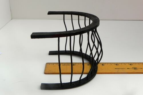Dollhouse Miniature Balcony Wrought Iron Look Black Curved Bars Wooden Frame