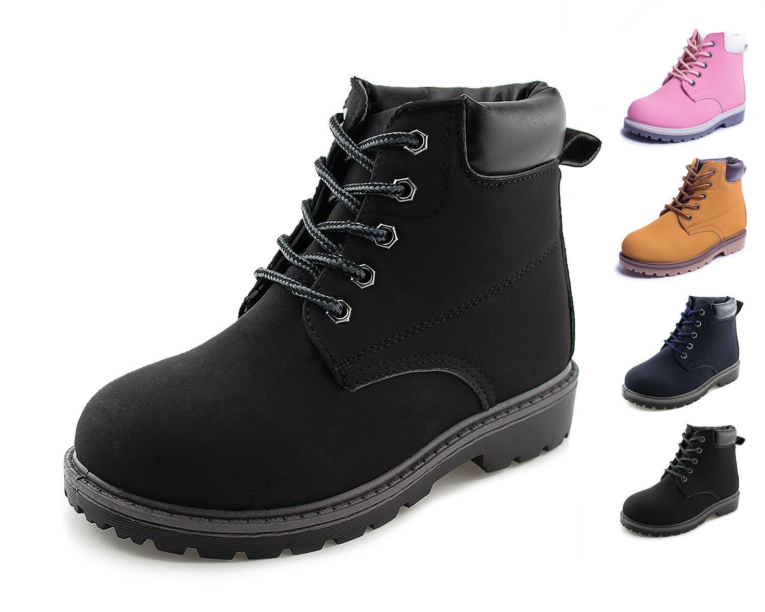 Kids Casual Lace-Up Ankle Work Boots Boys Girls  Shoes Brown Black Navy Hawkwell