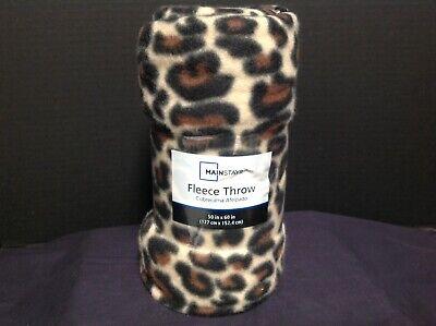 Leopard Print Fleece Throw 50 in x 60 in by Mainstays beige /& black /& brown