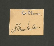 Cricket England signature autograph of G MILLMAN 1950s-60s