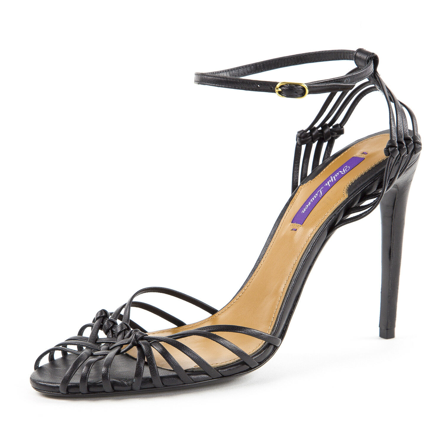 RALPH LAUREN Purple Label Women's Black Ankle Strap Leather Sandals Sz 10.5  595