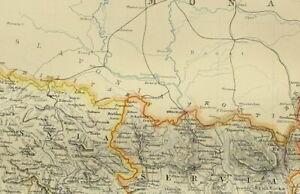 1895 Antique Map Turkey Europe Servia Bulgaria Rumania Bosporus