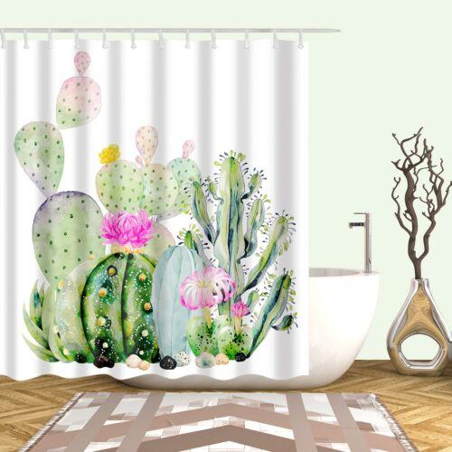 Cactus Flowers Blossom Bath Shower Curtain Cacti Tropical Succulent Fabric Decor