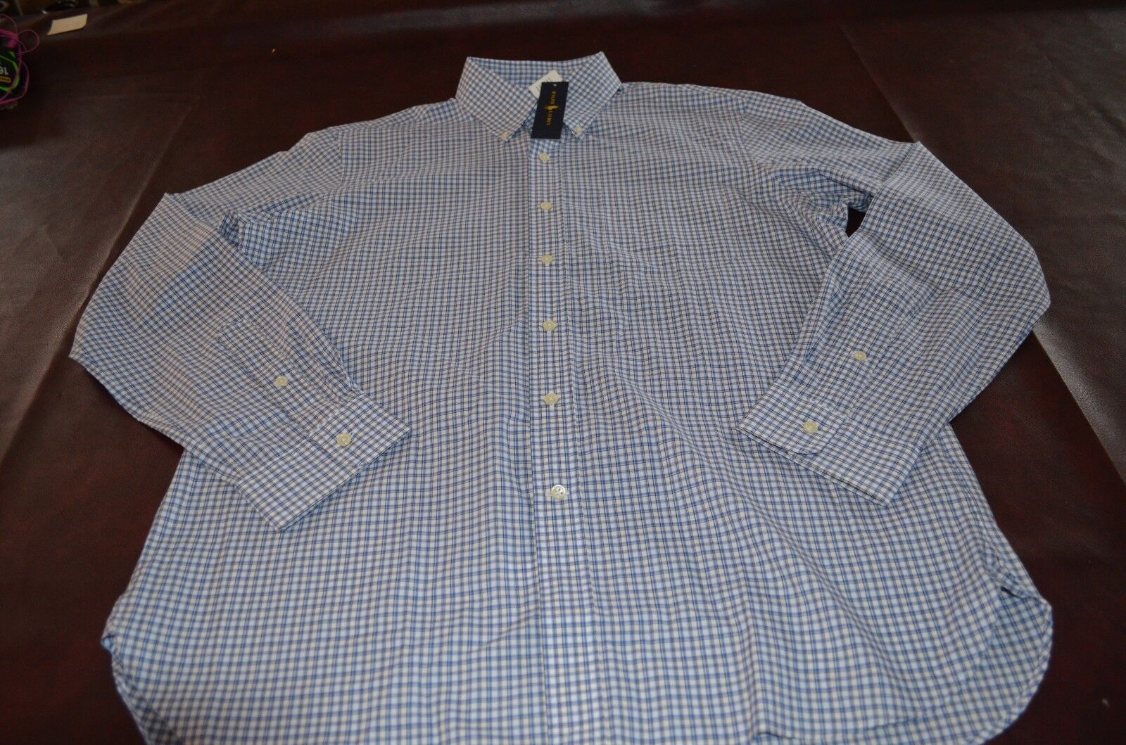 NWT MSRP 145 Ralph Lauren  Herren Dress Shirt 120's 2-ply Cotton Größe Large Blau