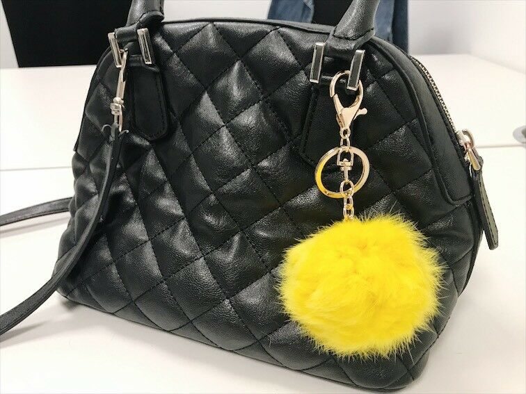Ingenious Yellow 8mm Faux Fur Bag Charm Chain Ring Pompom Keyring Uk Seller Low Price