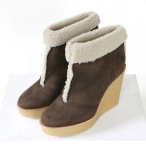 faa3ae97d73f Image is loading CHLOE-shearling-lined-brown-suede-wedge-heel-booties-