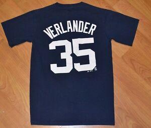 the best attitude 9ebf7 a2278 Details about Detroit Tigers Justin Verlander Adult Small Baseball Jersey T  Shirt MLB D Logo