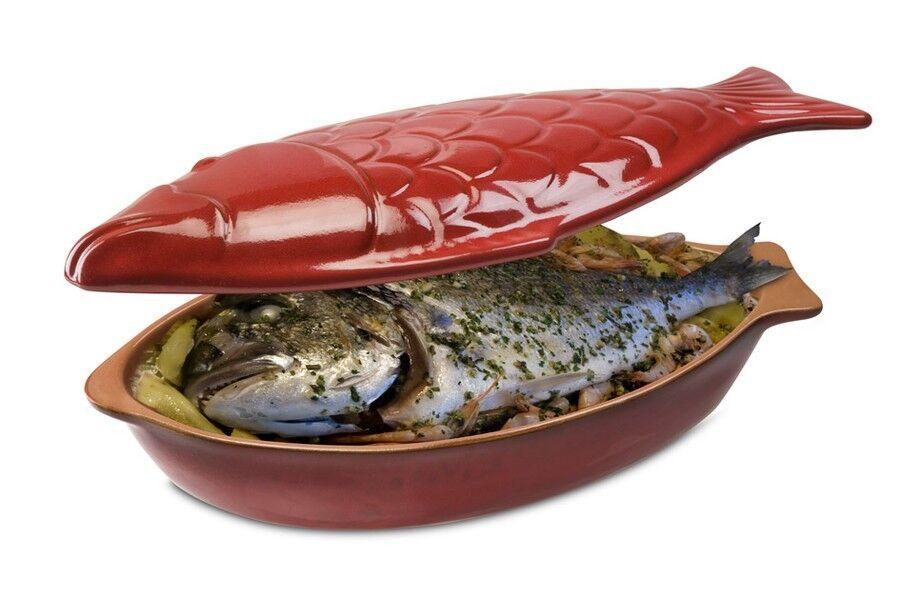 Piral Hervidor pescado Cocinar pescado con tapa terracota 33x19 cm Made in