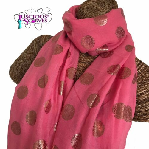 PALE SALMON SCARF WITH ROSE GOLD FOIL DOTS SPOTS LADIES SUPERB SOFT QUALITY
