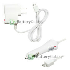 White Micro USB Battery Wall AC+Car Charger for Samsung Rugby 4/LG G4/HTC One M9