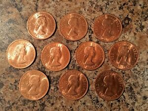 Lot-of-10-Coins-1967-UK-Great-Britain-British-One-1-Penny-Elizabeth-II-Coin
