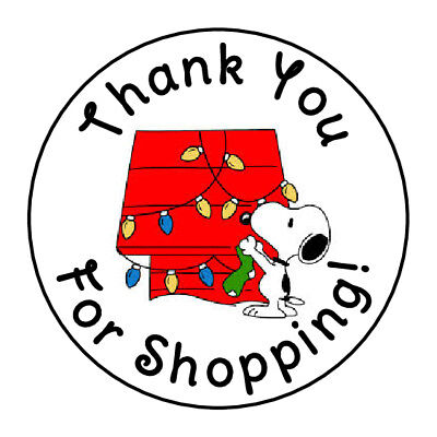 24 CHRISTMAS SNOOPY THANK YOU FOR SHOPPING FAVOR LABELS ROUND STICKERS 1.67 /""