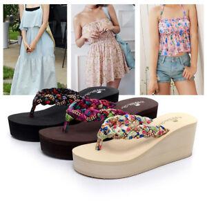 91700ceba4f842 Womens Summer Sandals Ladies Wedge Platform Flip Flops Slippers Boho ...