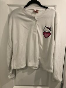 92d9e933d Rare Hello Kitty Womens Pink Fleece Printed Pajama Set Size White ...