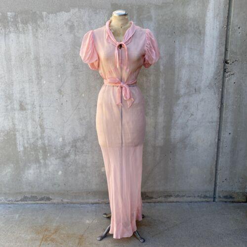 Vintage 1930s pink organza dress