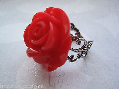 Thumb//Wrap ADJUSTABLE Filigree STATEMENT FLOWER RING Silver Plated