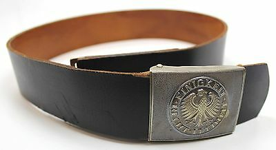 """Genuine German Army Black Leather Belt Brass Buckle Size All Sizes Up To 34/"""""""