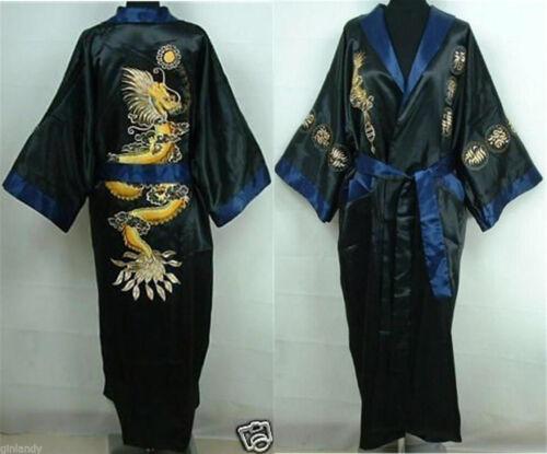 Double-Face Damen Herren Kimono Robe Bademantel Kleid Big Drachenmotiv Nachthemd