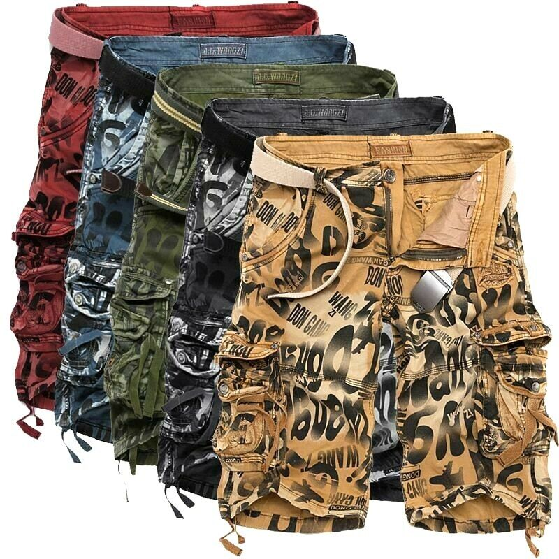 Summer Large Size Loose Men Military Cargo Short Army Camouflage Safari Style
