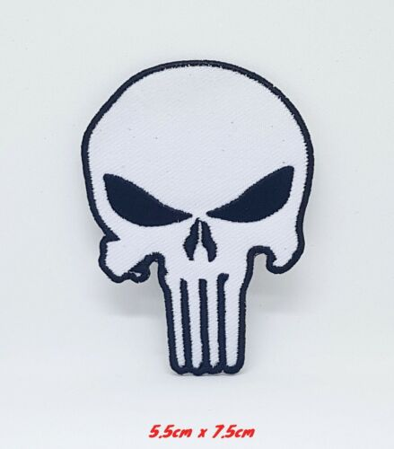 The Punisher White Marvel Avengers Iron or Sew on Embroidered Patch #306